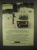 1973 Fiat 128 Car Ad - Tests Conducted UP a Ski Slope