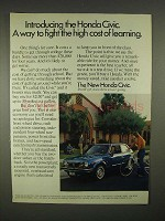 1973 Honda Civic Car Ad - Fight High Cost of Learning