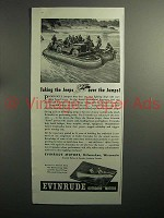 1943 WWII Evinrude Four Outboard Motor Ad - Jeep