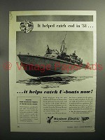 1943 WWII Western Electric Radio Telephone Ad - PT Boat
