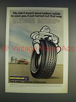 1974 Michelin Tire Ad - Steel-Belted Radials Save Gas