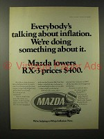 1975 Mazda RX-3 Car Ad - Talking About Inflation