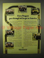 1975 Peugeot 504 Car Ad - Goes Through Hell