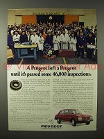 1975 Peugeot Car Ad - Passed Some 46,000 Inspections
