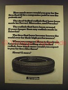 1976 Pirelli Tire Ad - How Much More Would You Pay
