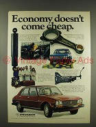 1976 Peugeot Car Ad - Economy Doesn't Come Cheap