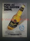 1989 Miller Genuine Draft Beer Ad - Pure as Snow
