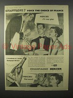 1956 Mercier Champagne Ad - Voice the Choice of France