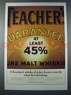 1987 Teacher's Scotch Ad - A Drinker Knows Exaclty