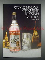 1987 Stolichnaya Vodka Ad - Genuine Russian Vodka