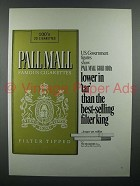 1970 Pall Mall Cigarette Ad - Lower In Tar Than King