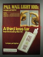 1980 Pall Mall Light 100's Cigarette Ad- Third Less Tar