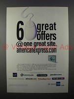 1999 American Express Credit Card Ad - 6 Offers