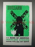 1959 Bank of America Travelers Cheques Ad - Holland