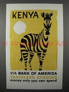 1959 Bank of America Travelers Cheques Ad - Kenya