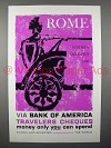 1960 Bank of America Travelers Cheques Ad - Rome