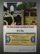 1964 Bank of America Travelers Cheques Ad - Currency