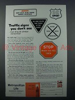 1960 Metropolitan Life Insurance Ad - Traffic Signs