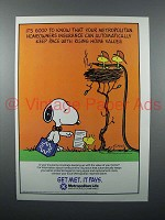 1986 MetLife Insurance Ad - Snoopy, Woodstock - Good to Know