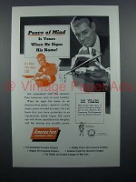 1953 America Fore Insurance Ad - Peace of Mind