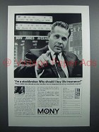 1963 MONY Insurance Ad - I'm A Stockbroker