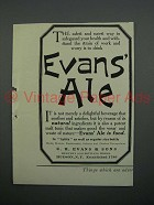 1908 Evans Ale Ad - Way to Safeguard Health is To Drink