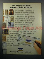 1986 Visa Travelers Cheeques Ad - Opens Doors
