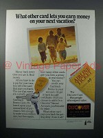 1987 Discover Credit Card Ad - Earn Money on Vacation