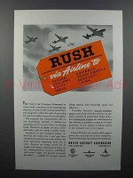 1942 United Aircraft Corporation Ad - Rush via Airline