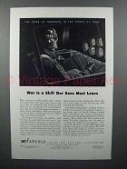 1943 Fairchild Aircraft Ad - War is a Skill Must Learn