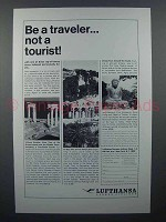 1964 Lufthansa Airlines Ad - Be A Traveler Not Tourist