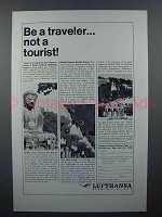 1965 Lufthansa Airlines Ad - Traveler Not a Tourist