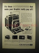 1960 Graflex Super Speed Graphic Camera Ad - Pay Off