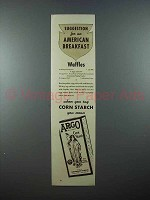 1937 Argo Corn Starch Ad - Suggestions for Breakfast