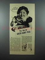 1937 Green Giant Peas Ad - If Children Won't Eat