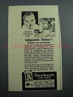 1939 Gerber's Baby Food Ad - Safeguards Nature