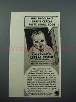 1939 Gerber's Baby Cereal Food Ad - Taste Good, Too
