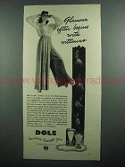 1942 Dole Pineapple Juice Ad - Glamour With Vitamins