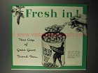 1942 Green Giant Peas Ad - Fresh In!