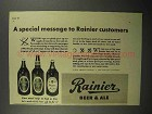 1942 Rainier Beer & Ale Ad - A Special Message
