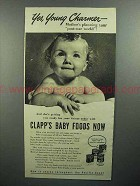 1944 Clapp's Baby Food Ad - Yes, Young Charmer