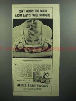 1944 Heinz Baby Food Ad - Don't Worry About Manners