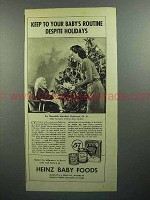1944 Heinz Baby Food Ad - Keep to Your Routine