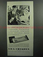 1930 ABA Travelers Cheques Ad - Sure We Take Them!