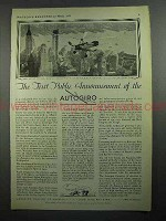 1931 Autogiro Aircraft Ad - First Public Announcement