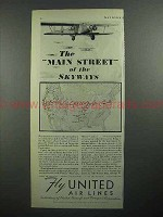 1931 United Air Lines Ad - Main Stree of the Skyways