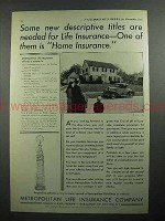 1931 Metropolitan Life Insurance Ad - Descriptive