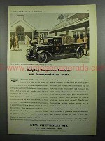 1931 Chevrolet Six Truck Ad - Cut Transportation Costs