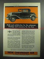 1931 Chevrolet Six Standard Coupe Car Ad - Prestige