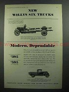 1931 Willys Six Truck Ad - Modern, Dependable